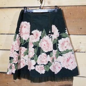 Persaman green corduroy with flowers skirt